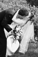 Wedding portrait of beautiful bride and groom