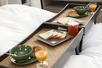 Break trays on bed