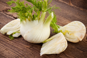 Fennel on wooden background
