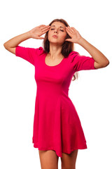 woman young girl under stress headache migraine pain isolated on