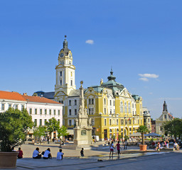 City Hall Square of Pecs in Hungary. WH UNESCO