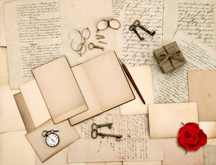 old love letters, vintage accessories, red rose flower