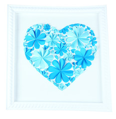 Beautiful handmade picture with heart from paper flowers,