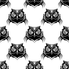 Seamless pattern illustration of an owl head