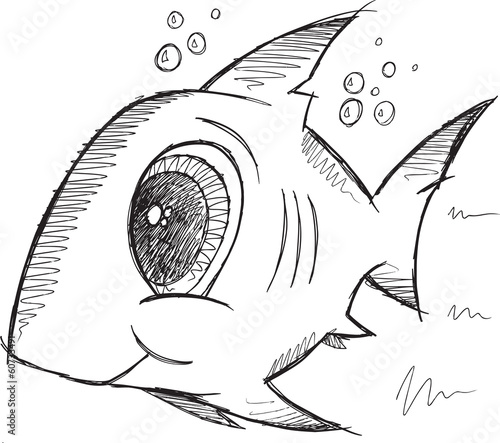 Shark Fish Sketch Doodle Illustration Vector Art