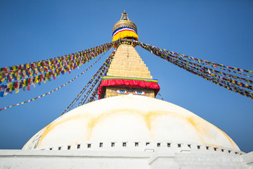 Bodhnath Stupa in Kathmandu with Buddha Eyes.
