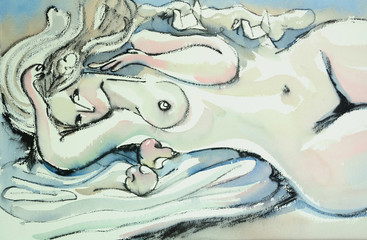 Original watercolor nude figure
