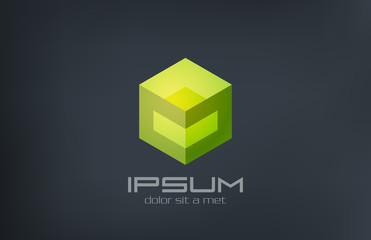 Logo Cube sci-fi abstract design. Gaming concept icon