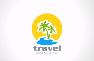 Logo Tourism Travel abstract design: Palms, sun, sea