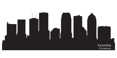 Wall Mural - Tampa Florida city skyline vector silhouette