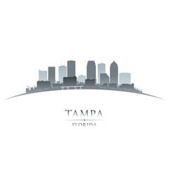 Tampa Florida city silhouette white background
