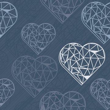 diamentowe serce na granatowym tle romantyczny deseń