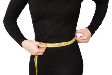 woman waist black dress