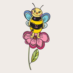 Smiling bee isolated on white. Vector art