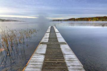 Frozen Swedish bridge in October month