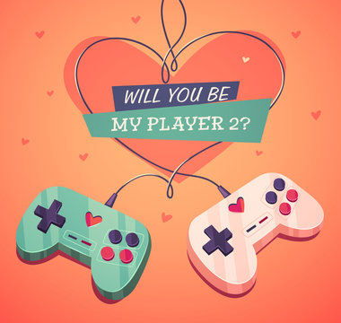 Will you be my player two? Valentine's Day Card.