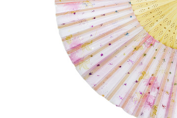 Close up shot hand fan isolate on white background.