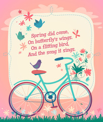 Bicycle on the spring field. Vector illustration.