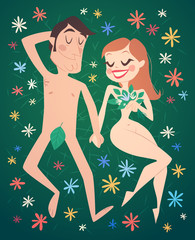 Romantic couple on grass. Vector illustration.