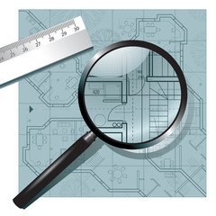 Magnifying glass on the architectural project