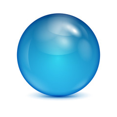 blue glass bowl isolated on white background.shiny sphere.vector
