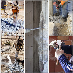 concrete structures demolition or by hand with chisel