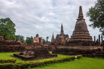 Wat Mahathat temple ruin in Sukhothai Historical Park, Thailand