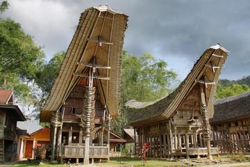 Fotobehang Indonesië Toraja traditional village housing in Indonesia