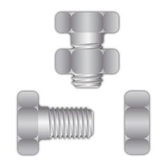 Bolt or screw with screw nut