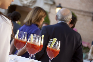 Professional catering service serving drinks to guests