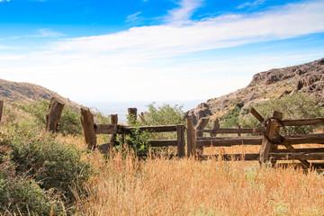 Vintage cowboy wooden fence line #1