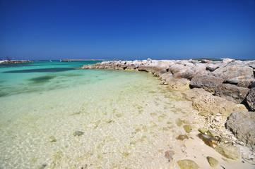 beautiful beach and rocks at bahamas