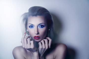 Beautiful elegant blonde woman posing