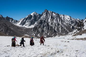 Buddhist pilgrims walking the kora around Mt. Kailash