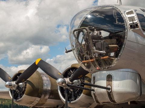 Details of a World War II B17 Bomber's Propellers and Guns