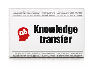 Education concept: newspaper with Knowledge Transfer and Head