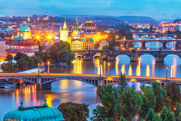 Wall Murals Prague Evening scenery of Prague, Czech Republic