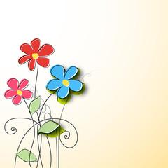 Paper flower background. Vector illustration
