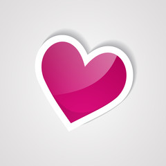 pink heart sticker on the white background