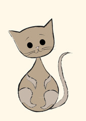 vector illustration of cute baby cat