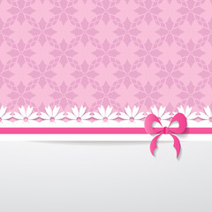 background with a pattern, a paper ribbon and a white space