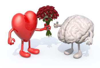 heart hands her a bouquet of roses to a brain