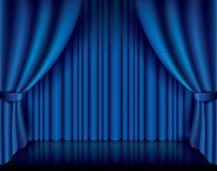 Blue curtain vector illustration