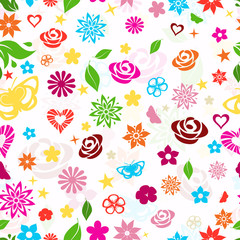 Seamless pattern of multicolored flowers on white