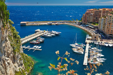 View of luxury yachts in harbor of Monaco. Bay Cap Dail.