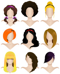Vector illustration of a set of nine women's hairstyles