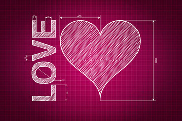 Abstract love heart blueprint, pink background with measures