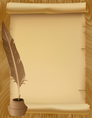 Vintage Paper Scroll with Feather Pen and Ink Over a Wooden Back