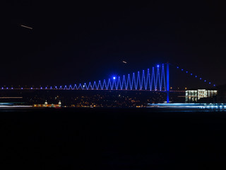 Bosphorus Bridge at Night - Blue Lights