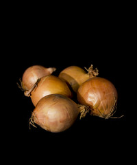 Onions on a black background